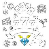Коллекция элементов казино. — Cтоковый вектор