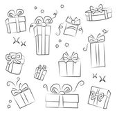 Gift Box Collection. Easy to colorize — Vector de stock