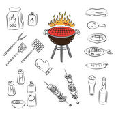 Vector barbecue party elements — Stock Vector