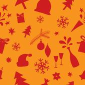 Padrão sem emenda de elementos de natal e ano novo — Vetor de Stock