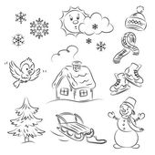 Winter Set — Stock Vector