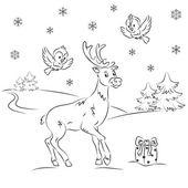 Reindeer Rudolf in the winter forest — Stock Vector