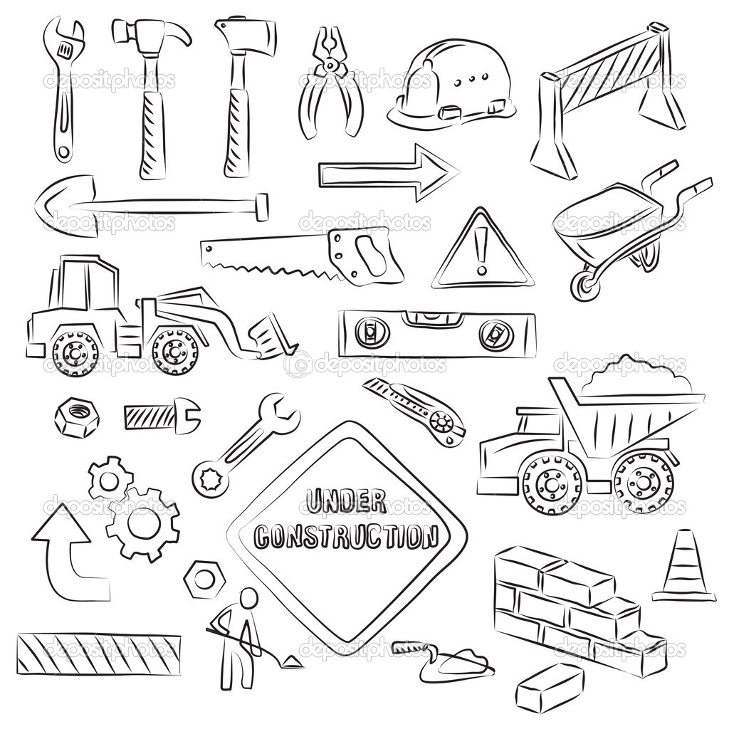 depositphotos 4379736 Constructions Signs and Tools Clip art Set American Flag as background for Clip Art Illustration for your design.