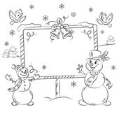 Two snowmen with billboard — Stock Vector