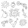 Set of Explosives and Weapon - Stock Vector