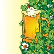 Stock Vector: Beer Mug on the Clover background