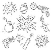 Set of Explosives and Weapon — Stock Vector