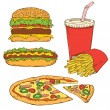 Set of Fast Food — Imagen vectorial
