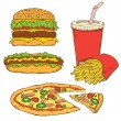 conjunto de fast-food — Vetorial Stock
