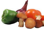 Duas e meia cebola tomate pimenta cogumelos — Foto Stock