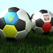 Soccer (football) balls on grass, 3d illustration — Stock Photo