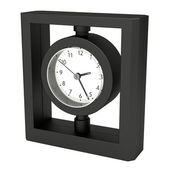 Table clock, black plastic, isolated on white — Stockfoto