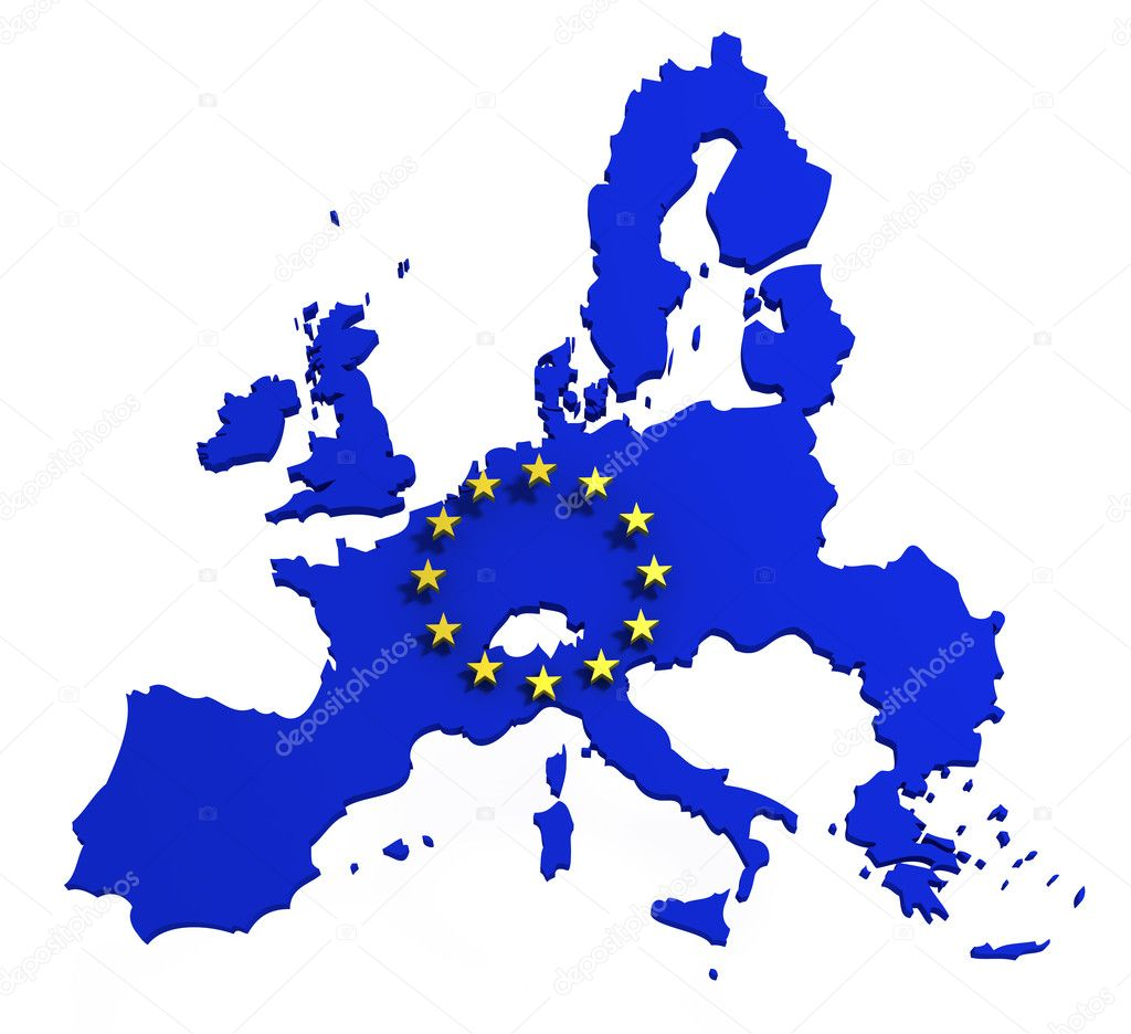 Map of European Union with flag of EU, isolated on white, 3d illustration  Stock Photo #4078987