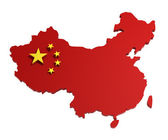 China, map with flag, isolated on white, — Stock Photo