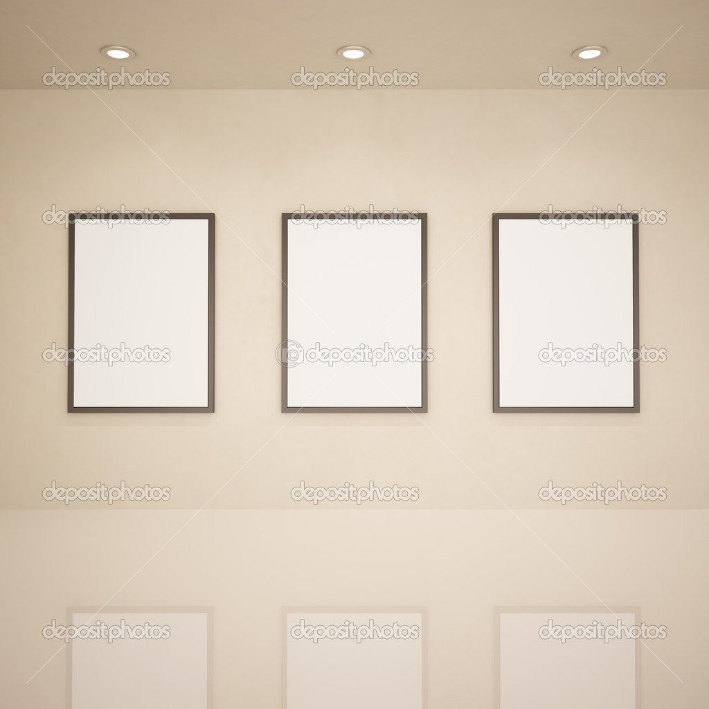 Blank frames in art gallery, 3d illustration — Stock Photo #4119750