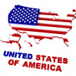 USA, map with flag, clipping path included, 3d — Stock Photo