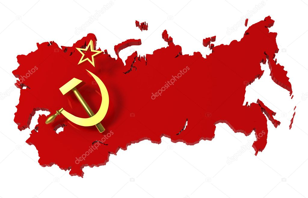 Soviet Union, USSR, map with flag, clipping path, 3d illustration — Stock Photo #4220714