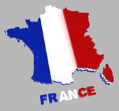 France, map with flag, isolated on grey, with clipping path — 图库照片