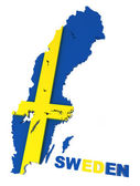 Sweden, map with flag, isolated on white, with clipping path — Stock Photo
