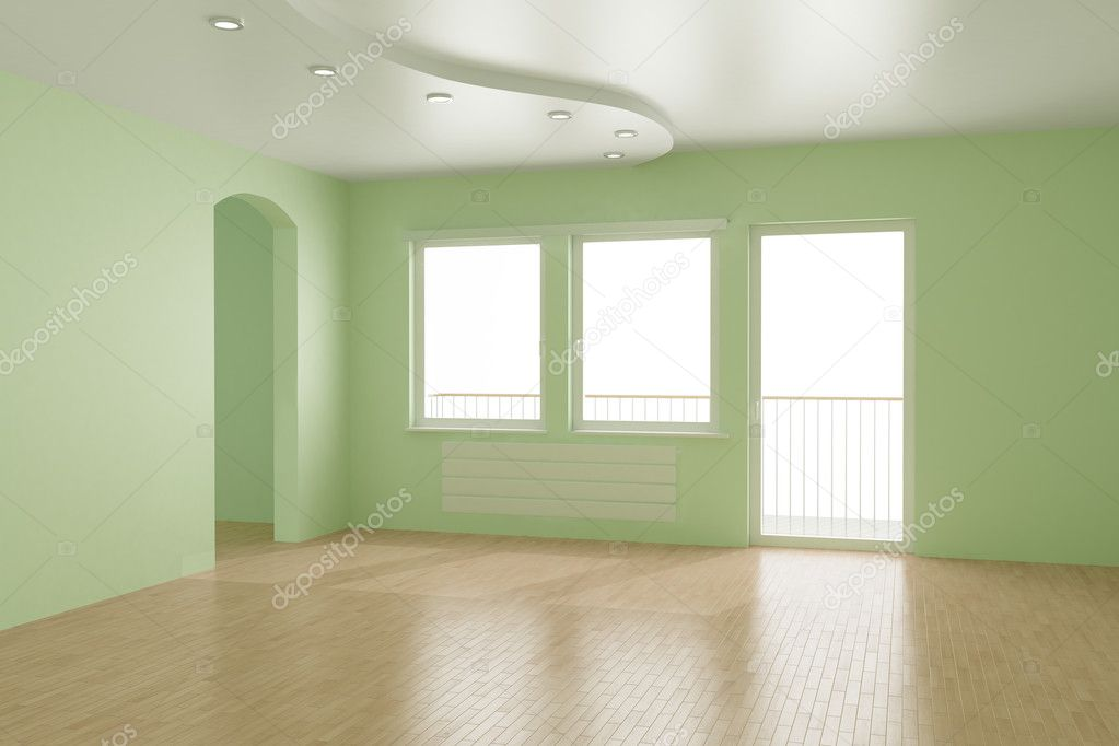 Empty room, clipping path for windows included - you can insert any view you want, 3d illustration — Stock Photo #4265603