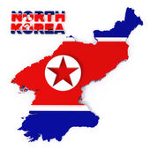 North Korea, map with flag, isolated on white with clipping path — Stock Photo