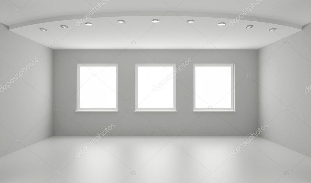 Clean interior, new white room, clipping path for windows included — Stock Photo #4320658