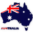 Australia, map with flag, isolated on white with clipping path - Stock Photo