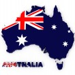 Australia, map with flag, isolated on white with clipping path — Stock Photo