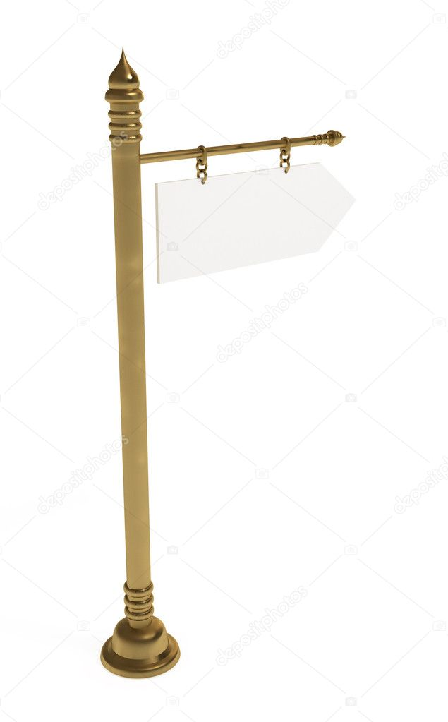 Blank board, golden signpost, isolated on white with clipping path, 3d illustration — Stock Photo #4391539