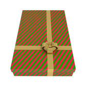 Striped gift box, red and green, isolated on white — Stock Photo
