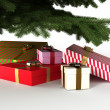 Presents under christmas tree, with clipping path — Stock Photo