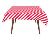 Table with striped tablecloth, isolated on white — Stock Photo