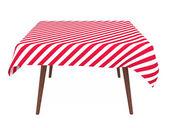 Mesa com toalha de mesa listrada, isolada no branco — Foto Stock