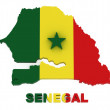 Senegal, map with flag, isolated on white with clipping path — Stock Photo #4568563