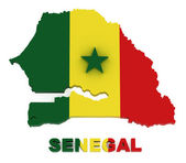 Senegal, map with flag, isolated on white with clipping path — Stock Photo