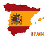 Spain, map with flag, isolated on white with clipping path — Stock Photo