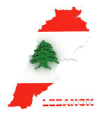 Lebanon, map with flag, isolated on white with clipping path — Stock Photo