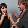 A boy and girl having an angry confrontation — Stock Photo