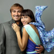 Fashion style photo of an attractive young couple — Stok fotoğraf