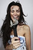 Porträtt av flicka av sanitär tekniker — Stockfoto