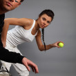 Stock Photo: Oung attractive tennis players