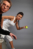 Oung attractive tennis players — Stock Photo