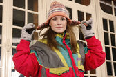 Young woman with winter cap — Stock Photo