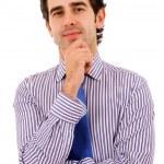 homem de negócios jovem feliz isolado no fundo branco — Foto Stock