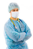 Young male surgeon portrait. Isolated on white — Stock Photo