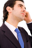Close-up portrait of pensive young business man. Isolated on whi — Stock Photo