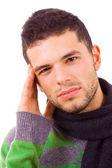 Jeune homme décontracté avec un mal de tête — Photo