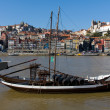 Rabelo Boat in Douro River at Oporto City, Portugal — Stock Photo