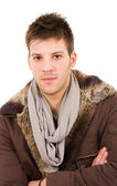 Young man dressed with winter clothes — Stock Photo