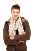 Picture of a young man dressed with winter clothes, isolated — Stockfoto
